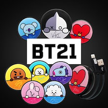 ★ 【BT21】BT21 公式 円型 充電リールケーブル Cable  in1 USBケーブル(MicroUSB+8-PIN/MicroUSB+Type-C)