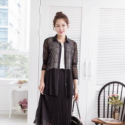 マダム4060ママの服、パール・網タイツブラウスXBL707128 ルーズフィット/ロングシャツ/ブラウス/ 韓国ファッション