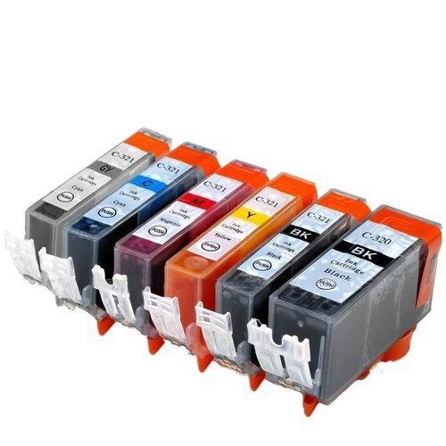 BCI-321+320/6MP ×1 / 6色セット CANON (キャノン) 互換インク 320のみ顔料他は染料 【対応インク型番】 BCI-320PGBK BCI-321BK BCI-321C B