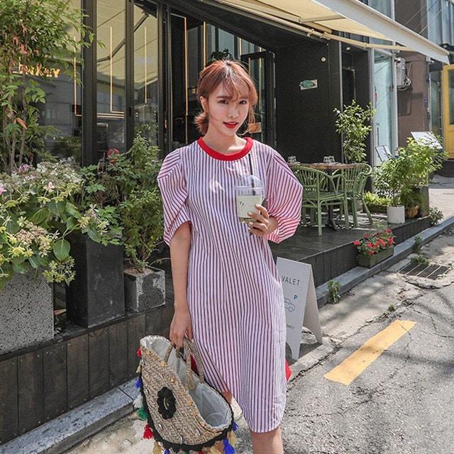 縦ストライプルースフィットガーリッシュ半袖ワンピースデイリールックkorea women fashion style