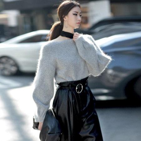 [ディントゥ] E-4222アンゴラ配色ひらきニットkorea fashion style