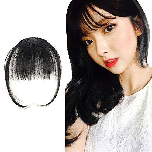 (TS. CORP)前髪ウィッグ超薄型 エクステ 超自然 もみあげ付きウィッグ (アメピン10本&付け方説明書付き)ブラック