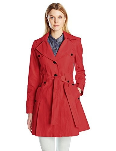 Via Spiga Womens Skirted Single Breasted Trench Coat, Red, Medium