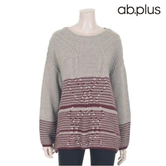 エイビープラスツートンライン的ニートLSP4WP67A ニット/セーター/パターンニット/韓国ファッション