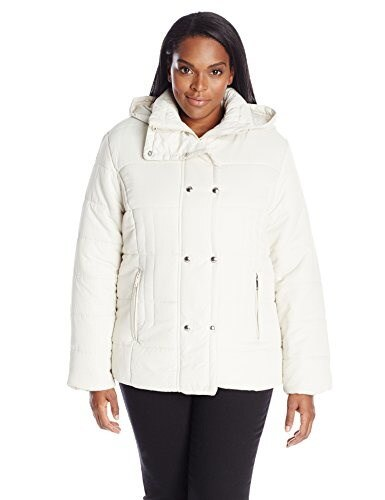 Big Chill Womens Plus-Size Short Puffer Jacket, Silver Birch, 2X