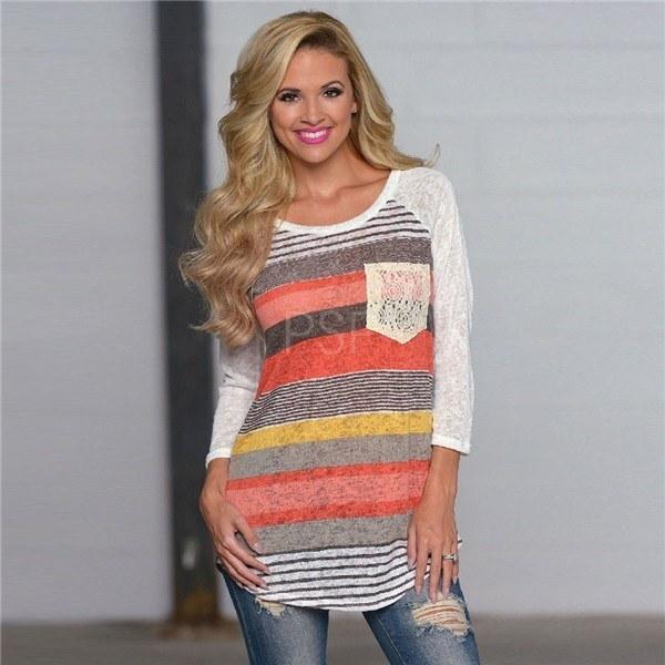 Women Fashion Print Stripe Irregular Pocket Long Sleeve T-Shirt