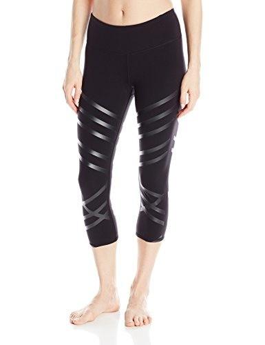Alo Yoga Womens Airbrush Capri Printed, Black/Black Lineal, Small