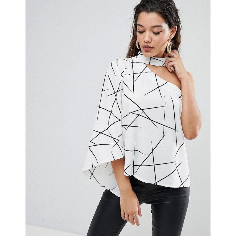 パラレルライン レディース トップス【Parallel Lines Asymmetric Top With High Neck In Abstract Print】Black/white