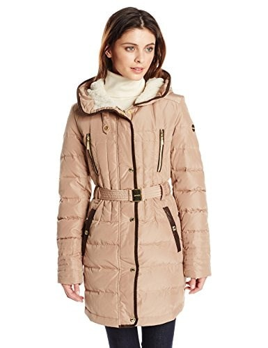 Kensie Womens Belted Down Coat with Faux Fur Lined Hood, Camel, Small