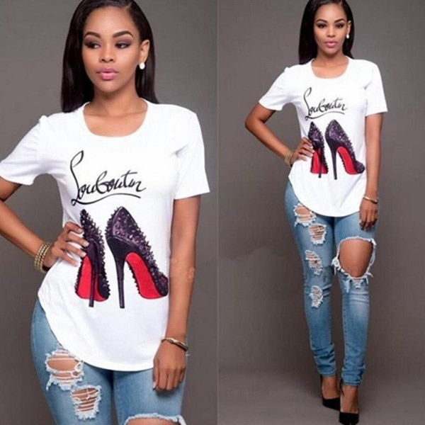 Women s Fashion High-heeled Shoes Printed T-shirt Casual Irregular Tops Blouse