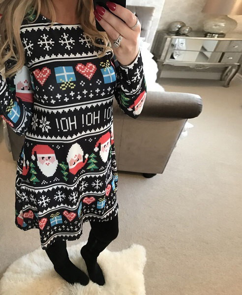 ホットスタイルのサンタの雪だるまのクリスマスモザイクのドレスは0213です