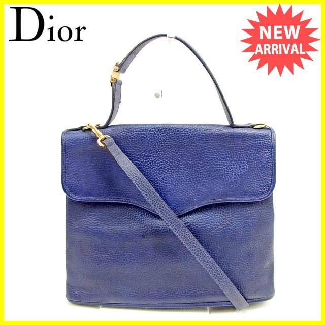 ディオール Dior 2WAYショルダーバッグ ハンドバッグ レディース  CDプレート ネイビー×ゴールド レザー 人気 セール 【中古】 T431 .