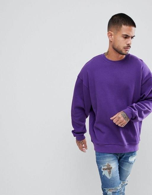 ASOS Oversized Sweatshirt In Purple