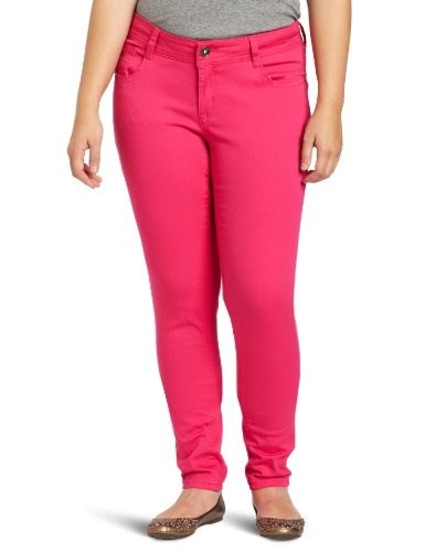 Southpole Juniors Plus-Size Basic Stretch Twill Color Jean, Rose, 16