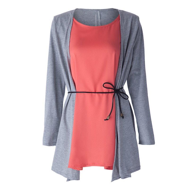 女性のためのファッショナブルなジュエルネックロングスリーブフォックスツインセットデザインTシャツ