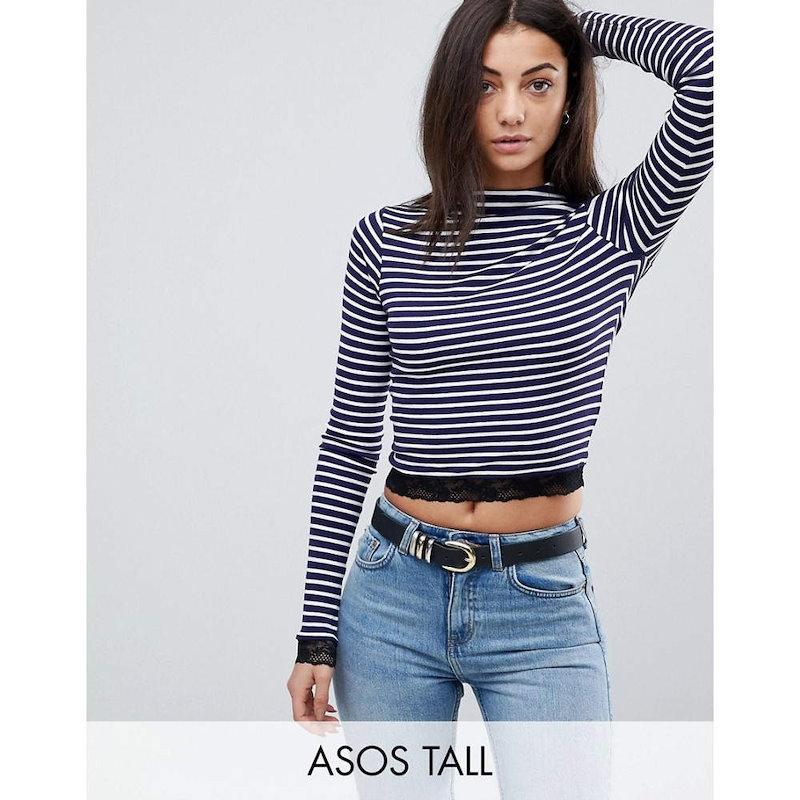 エイソス レディース トップス【ASOS TALL High Neck Polo in Stripe with Lace Trim】White/navy
