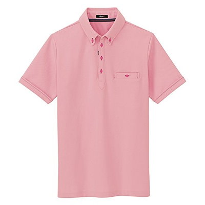 春夏用 AITOZ アイトス  部屋干しボタンダウン半袖ポロシャツ AZ-7667 160 ピンク サイズL
