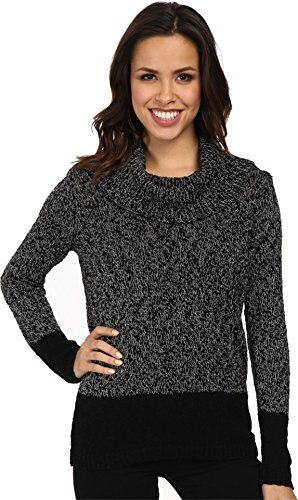 Calvin Klein Womens Marled Blocked Cowl Sweater, Black/White, Large