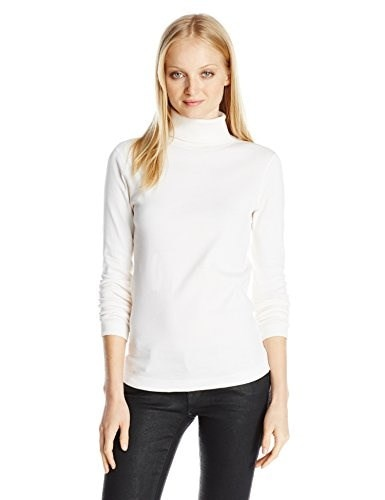 Three Dots Womens Long Sleeve Turtleneck Top, Gardenia, Small