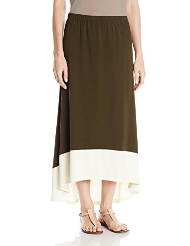 Jones New York Womens Hi-Low Maxi Skirt, Olive/Sand, Small