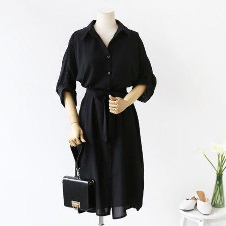 折り目のないすっきりとしたシャツ型長袖秋ロングワンピース30485デイリールックkorea women fashion style