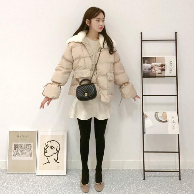 感じ好きカラ広がりパディングkorean fashion style
