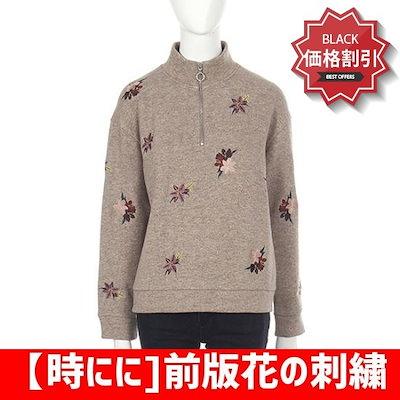 【時にに]前版花の刺繍ネックオープンポーラティー(SE1TSF143) トップ/ノースリーブTシャツ/ 韓国ファッション