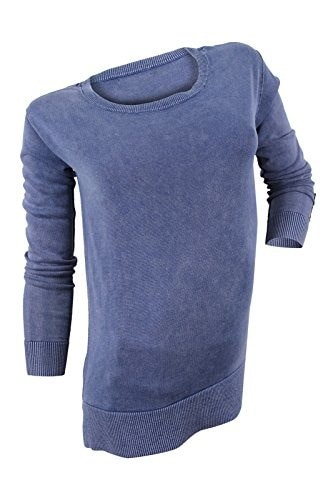 Tommy Hilfiger Womens Blue Washed Scoop Neck Sweater, L