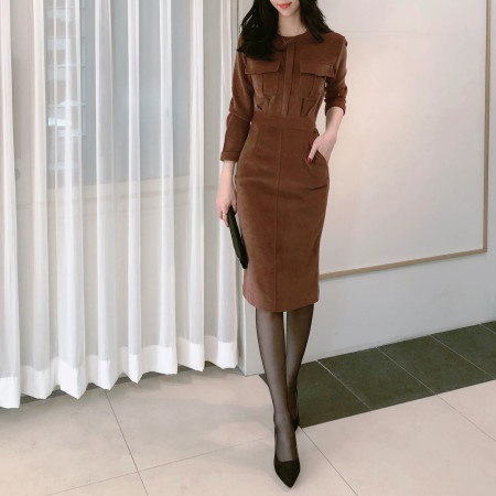 Suede Volume Pocket Winter Long Dress Korean fashion style
