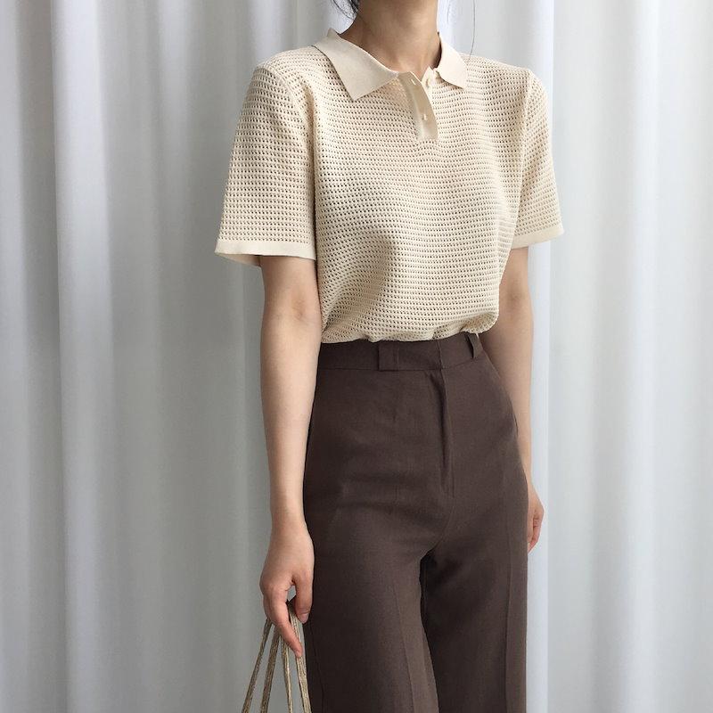 ワッフルカラーニット3col korea fashion style
