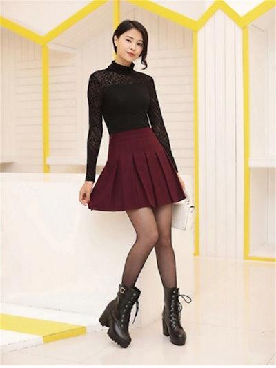 スカート 選べるミニ丈 ひざ丈 タックフレア 体型カバー ウエストゴム