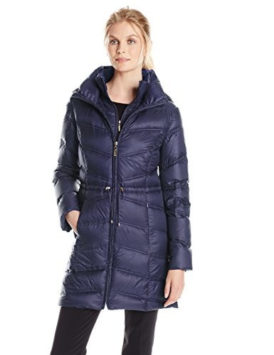 Ellen Tracy Outerwear Womens Chevron Packable Down Coat with Cinch Waist, Navy, Small