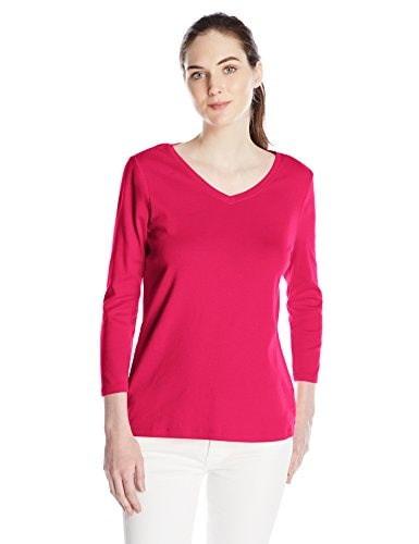 Pendleton Womens Three-Quarter Sleeve V-Neck Tee, Cherry Pink, X-Small