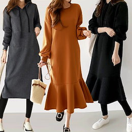 SALE新作SALE!! 裏起毛 ロング丈ワンピース 韓国ファッション 着痩せ 無地 可愛い ゆった
