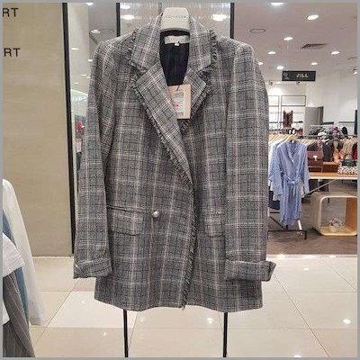 [コインコーズ][コインコーズ]Wモールチェック手術晋州ジャケットIW7MJ105 /テーラードジャケット/ 韓国ファッション