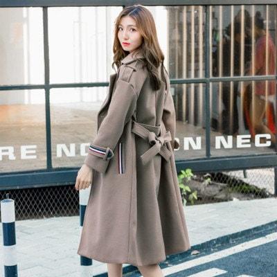 秋冬 ファッション 新品 韓国風 スレンダーライン ロングコート ツイード 厚い レディーズ女性 アウター