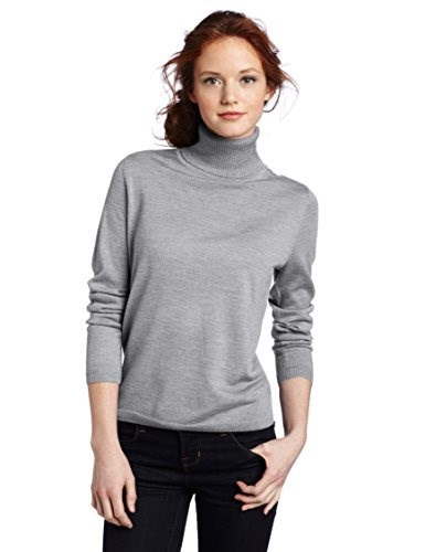 Pendleton Womens Petite Classic Merino Turtleneck Sweater, Soft Grey Heather, Large