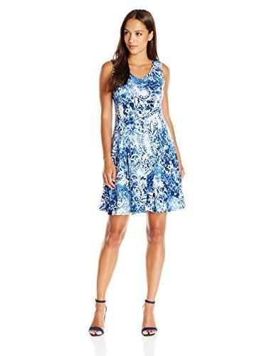 Notations Womens Sleeveless Vneck Godet Pinted Dress, Blue/Whiff, Petite/Small