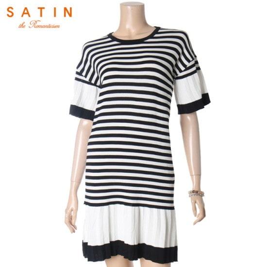 サティン下段フリルシンプルロングニートS173T999 ニット/セーター/ニット/韓国ファッション