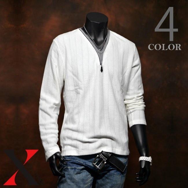 Tシャツ メンズ 長袖 長袖Tシャツ トップス カットソー Yネック 重ね着風 秋 秋冬 インナー 針抜きブークレフリース フェイク ジップ