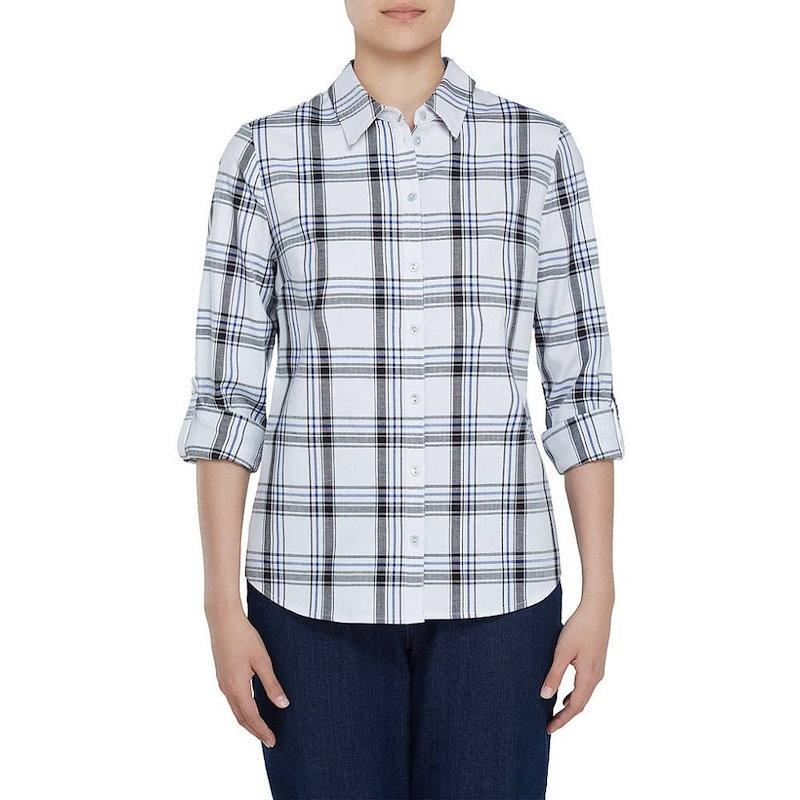 アリソン デイリー レディース トップス ブラウス・シャツ【Allison Daley Long Roll-Tab Sleeve Windowpane Plaid Button Front Shirt