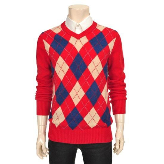 フー・アー・ユー羊毛アーガイル・プルオーバー16O216W0913 ニット/セーター/ニット/韓国ファッション