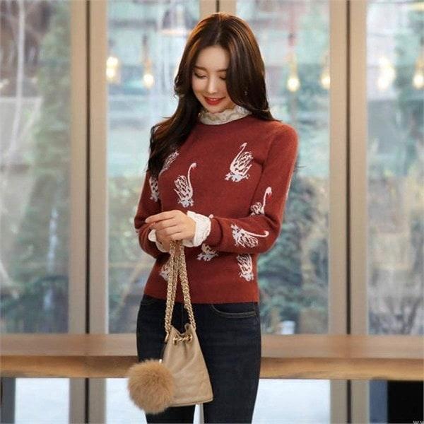 スタイルオンミ愛しい白鳥ジャカード・ニットnew 女性ニット/ラウンドニット/韓国ファッション