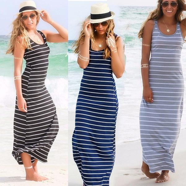 女性の夏のストライプBohoイブニングパーティーロングマキシビーチドレスコットンベストドレス