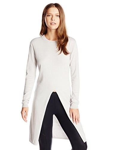 HALSTON HERITAGE Womens Long Sleeve Crew Neck Sweater with High Front Slit, Light Flint, Large