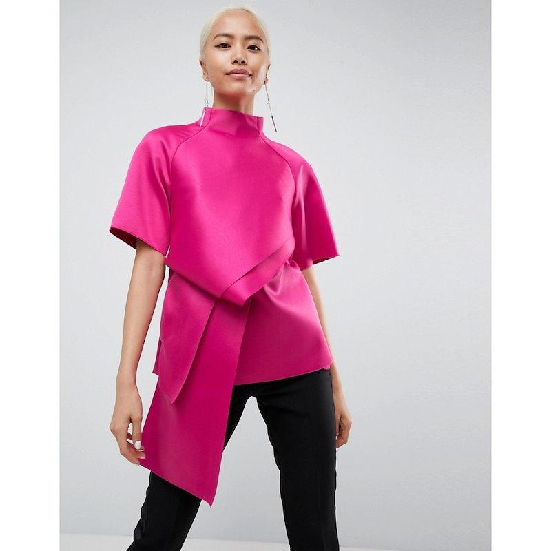 エイソス レディース トップス【ASOS WHITE Satin Tuck Detail Top】Magenta pink
