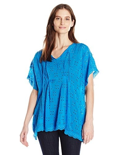 Johnny Was Womens Keyhole Tie Poncho, Cobalt, Large