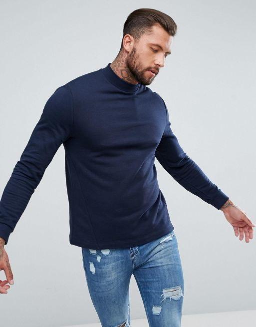 ASOS Sweatshirt with Side Panels in Navy