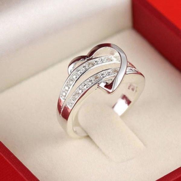 ファッション女性ジュエリーシルバーメッキリングハートラブ女性結婚指輪サイズ5 6 7 8 9 10 11 DYY573 /