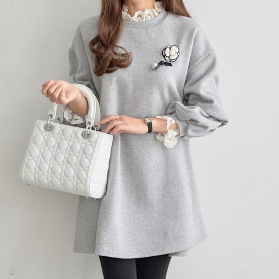 ペッパーレイスナックベクジポ起毛ワンピース35016 綿ワンピース/ 韓国ファッション